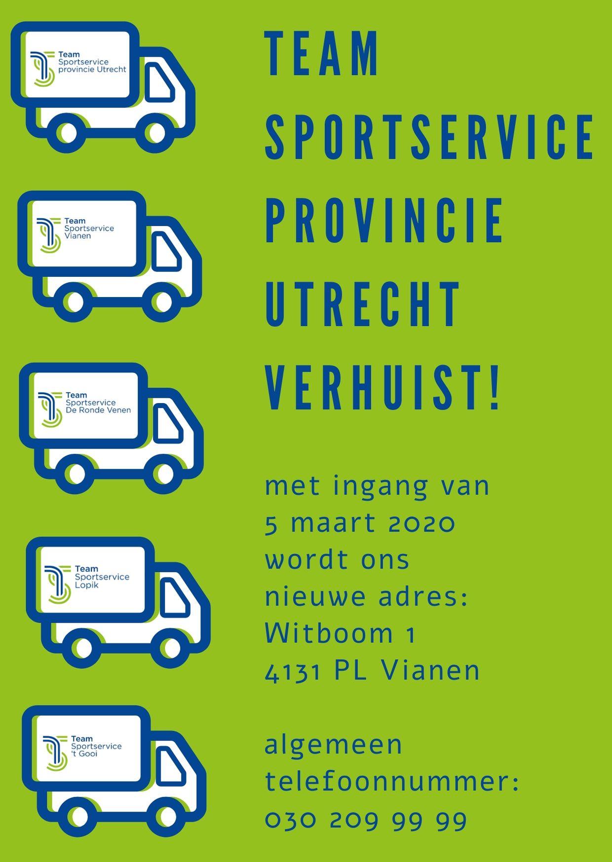 Team Sportservice provinvie Utrecht verhuist